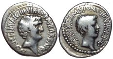 Roman Imperatorial - Marc Antony and Octavian - AR Denarius (Silver, 20/18mm, 3,78g.), military mint moving with Antony (Ephesus?)  c. 41 BC, M. Barbatius Pollio, quaestor pro praetore - Head of Antony / Head of Octavian - Cr. 517/2; CRI 243; RSC 8a