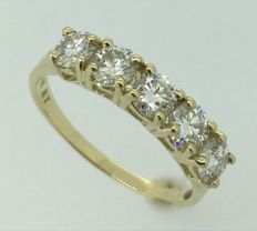 14K Yellow  Gold Ring with created moissanites - US size 7.5