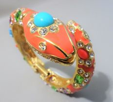 "Signed KENNETH JAY LANE - Gold plated coral enameled hinged SNAKE Bracelet ""Couture Collection"""