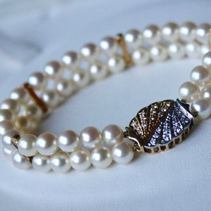 Beautiful 2 Row Bracelet With Round Selected High Quality Ivory