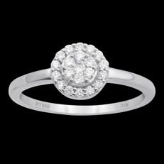 18Kt. white gold cluster ring set with diamonds 0.25ct.,GH colour and SI clarity , Size 54/N ( resizing available in antwerp)