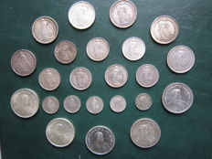 Switzerland -- Lot of 23 (twenty three) silver coins from 1902 to 1967