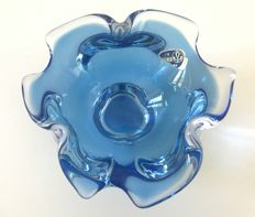 Bohemian crystal - Bowl in blown blue crystal in the shape of a flower