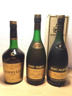 Hennessy VSOP (late 1960s/early 1970s) and 2x Remy Martin VSOP (1980s/1990s)