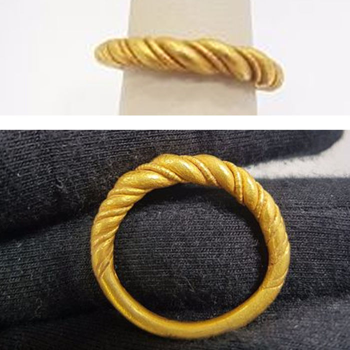 Viking Gold Twisted Ring - 25mm overall