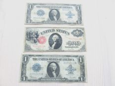 USA - 3 x 1 Dollar 1917 (1) and 1923 (2)