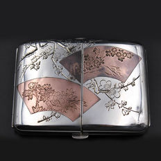 Beautiful Mixed Metal Sterling Silver Cigarette Case