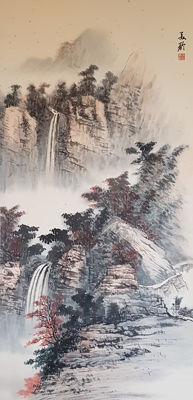 Hand-painted chinese scroll painting《宋美龄-山水》- China - late 20th century
