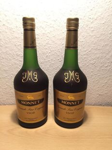 Two bottles of Monnet Cognac - bottled 1980s