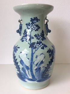 Celadon/Blue and White Vase - China - Late 19th/early 20th Century