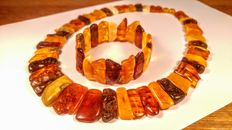 Huge set of 100% Genuine Baltic Amber necklace and bracelet. Bracelet ca. 56 mm hole,  Necklace 45 cm length