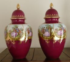 2x vintage Fragonard vase with lid, JKW, hand-painted, Fragonard love story, 24 ct. gold