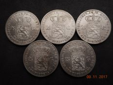 The Netherlands – 2½ guilder coins 1870 up to and including 1874 Willem III (5 different coins) – silver