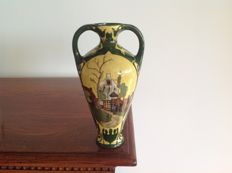 De Distel Amsterdam - Polychrome vase with handles and farm scene