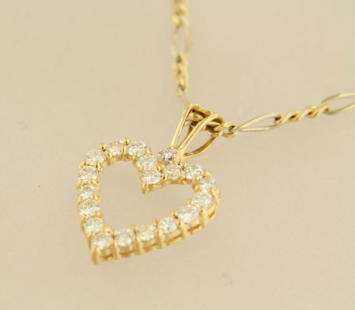 14 kt yellow gold necklace with an 18 kt gold heart pendant set with 14 kt yellow gold necklace with an 18 kt gold heart pendant set with brilliant cut aloadofball Choice Image