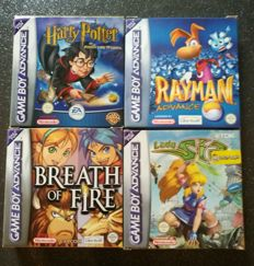 4 gameboy advance games-  Harry Potter + Rayman + Breath of Fire and Lady Sia - Boxed