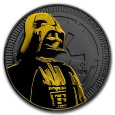 Niue - 2 Dollars 2017 'Star Wars / Darth Vader' black ruthenium + gilded - 1 oz silber