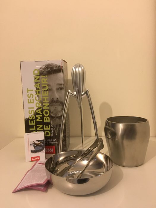 philippe starck pierre charpin for alessi 39 lot of 3 design objects juicy salif juicer ice. Black Bedroom Furniture Sets. Home Design Ideas