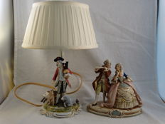 Set with a Wilhelm Rittirsch table lamp and a bisque sculpture of a musician and female