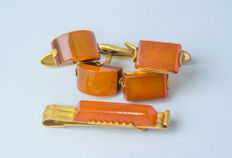 Set of natural Baltic Amber gold plated tie clip clasp and two pair of cuff links butterscotch, egg yolk Amber