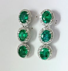 An 8.88ct pair of Emerald and Diamond earrings ***No reserve***