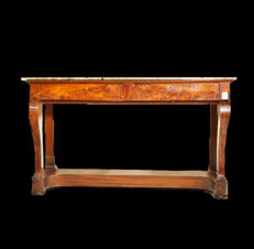 Large Empire console - mahogany and mahogany feather - France - ca. 1825