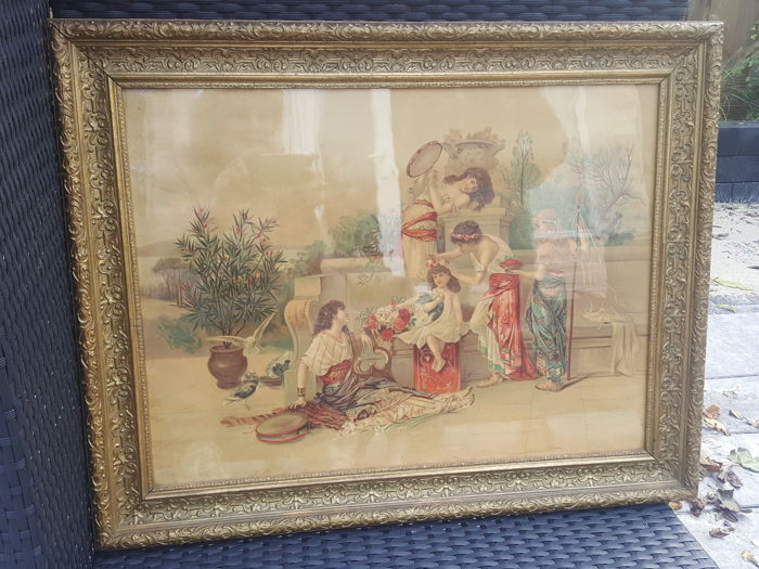 A neoclassical style print in a wooden frame gold - 1st half 20th century