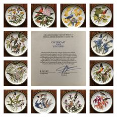 "Franklin Mint ""Songbirds of the World""- A complete set of 12 porcelain plates with 24 carat gold edging."
