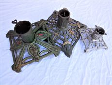 Three old Christmas tree stands with elaborate decoration, Jugendstil