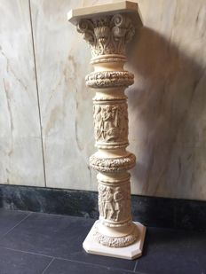 Greco-Roman column in fake ivory from the 20th century, Italy