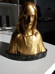 Albert Roze (1861-1952) - Foundry F. Barbedienne - gilt bronze bust of Christ - France - beginning of the XX Century