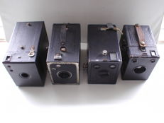 4x box camera: Altissa Eho Box 180 / Zeiss Ikon Box Tengor 54/2 / Kodak No.2 Hawk-Eye Model B / Kodak Target Six-20 Hawk-eye