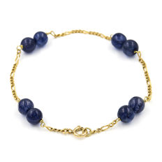 18 kt yellow gold - bracelet - round sapphires weighing 20 ct - length 18.50 cm