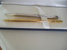 Caran d'Ache 2 gold and silver-plated ballpoint pens