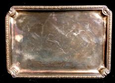 An elegant ,  silver plated  , vintage , rectangular , card´s tray  ,  1970´s  , Louis XVI style