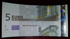 European Union - Germany - 5 euros 2002, Duisenberg - intentionally cut wrong