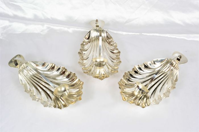 seafood serving set, silver plated metal, France 1950-1960