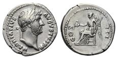 Roman Empire - HADRIAN (117-138 AD), AR Denarius (Victory) - 18mm; 3.35g / RIC 345 var. (no drapery and COS low)