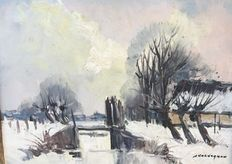 J Kelderman (1914-1990) -   Winterlandschap
