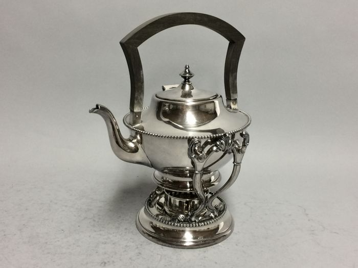 Antique silver plated kettle with exceptional ebony handle, the Barbour Silver Co, U.S.A, ca. 1900