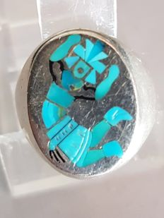 Navajo men's ring - Sterling silver with turquoise