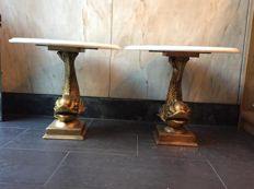 Pair of tables with carp in golden gilt and marble top