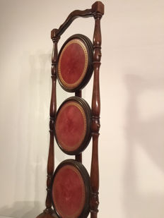 Very nice foldable whatnot or cake stand with red leather inlays, England, mid 20th century
