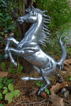 Ferrari horse from aluminium - 40x27 cm - 1980s as ad for collectors, workshop