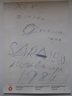 Poster of the 1984 XIV Winter Olympic Games in Sarajevo, Yugoslavia, by CY Twombly