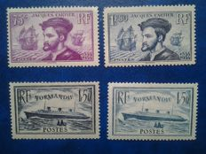 France 1934/1937 - Jacques Cartier and Normandy – Yvert n° 296/297 and 299/300