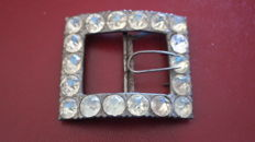 Large antique belt buckle with diamond shaped cutted glass, 19th century