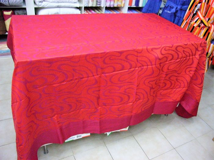 Rectangular tablecloth for 12, Jacquard weaving, 100% linen, 1960