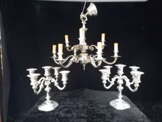 Silver plated chandelier + 2 matching candle stands
