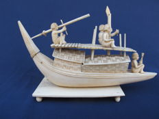 Ivory boat with warriors - India - early 20th century